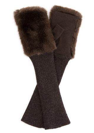 L'apéro Handschuhe in Dunkelbraun mit Fake-Fur
