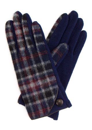 L'apéro Karierte Handschuhe in Navy