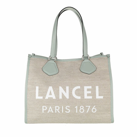 Lancel  Tote - Summer Jute Canvas And Smooth Leather Tote Large - in beige - für Damen