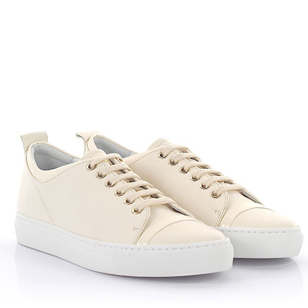Lanvin  Sneaker Glattleder Lackleder Lammleder Ziegenleder weiß grau
