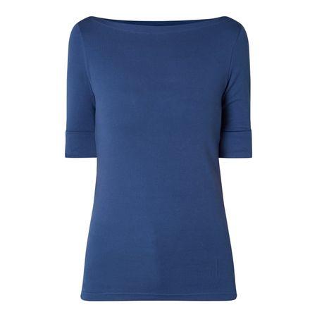 Lauren Ralph Lauren T-Shirt mit fixiertem Aufschlag blau