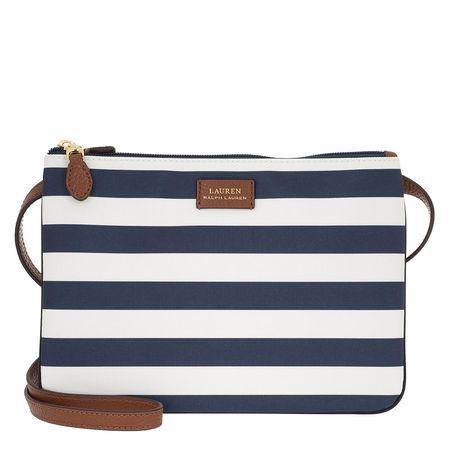 Lauren Ralph Lauren  Umhängetasche  -  Double Zip Medium Crossbody Bag Navy Stripe  - in blau  -  Umhängetasche für Damen grau