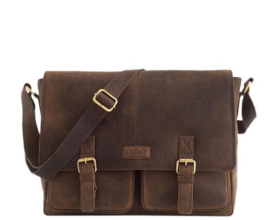 Leabags  15' Messenger Bag Umhängetasche Cambridge von  im Vintage Look - Muskat braun