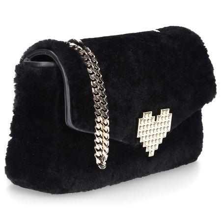 Les Petits Joueurs Handtasche IVY Shearling Wool Metall schwarz schwarz