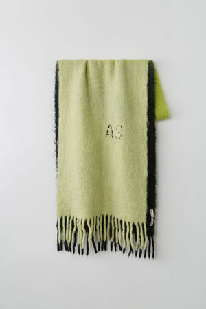 Acne Studios  Kelow Dye Schwarz/Neongelb/Limone  Schal mit Teilfärbung grau