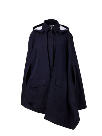 Loewe  - Kapuzen-Poncho aus Baumwolle Marineblau schwarz