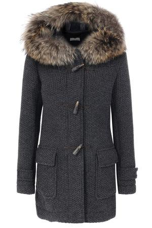 Lost in Albion  Strick-Duffle-Coat Alessia mit Alpaka und Wolle Mittelgrau Damen Farbe: mittelgrau verfügbare Größe: XL grau