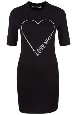 Love Moschino Damen Jerseykleid mit Print Schwarz schwarz