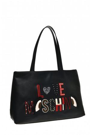 Love Moschino Damen Shopper mit Stickerei Schwarz schwarz