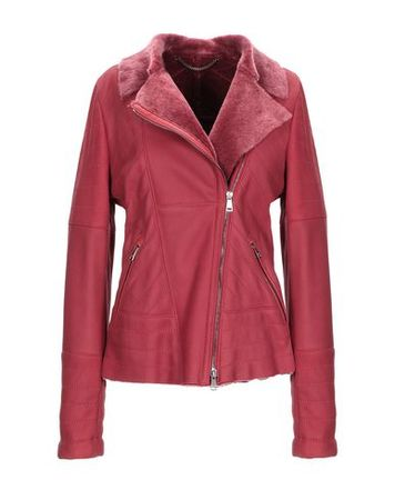 Mabrun  36 Damen Bordeaux Jacke Lammleder pink