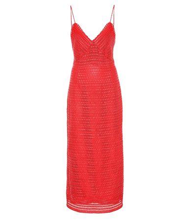 Magda Butrym Kleid Oviedo aus Baumwolle und Leder rot