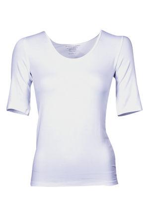 Majestic Filatures Majestic Rundhals Shirt aus elastischem Material-Mix, weiß Damen lila