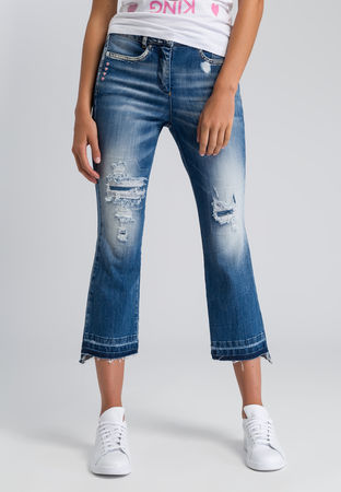 Marc Aurel  Verkürzte Flared Jeans im Destroyed-Look Damen grau