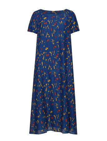 Marimekko VÄKevÄ Kaski Dress Kleid Knielang Blau  blau