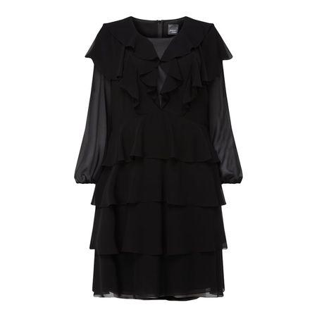 Marina Rinaldi PUS SIZE Kleid aus Chiffon im Stufen-Look schwarz