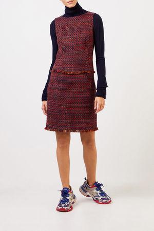 Nusco  2107 - Tweed-Kleid mit Fransen Rot/Marineblau