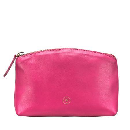 Maxwell Scott Bags Damen Leder Kosmetiktasche aus Nappaleder - Beauty Case, Kosmetikkoffer, Schminkkoffer pink