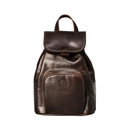 Maxwell Scott Bags Damen Leder Rucksack in Dunkelbraun - Reiserucksack, Multifunktionsrucksack schwarz
