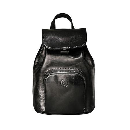 Maxwell Scott Bags Damen Leder Rucksack in Schwarz - Reiserucksack, Multifunktionsrucksack schwarz