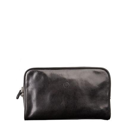 Maxwell Scott Bags Italienische Kulturtasche in Schwarz - Kulturbeutel, Waschtasche, Beautycase, Kosmetiktasche grau