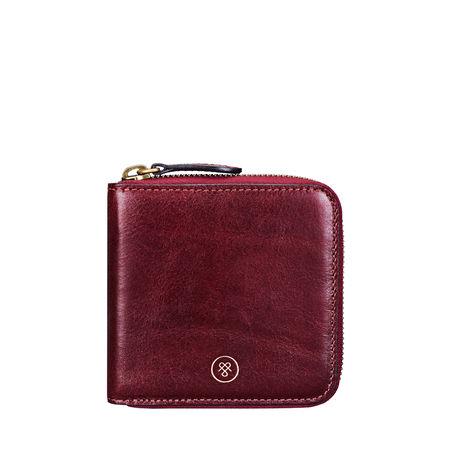 Maxwell Scott Bags Kleines kompaktes Leder Portemonnaie mit Reißverschluss in Weinrot - Brieftasche, Geldbörse, Geldbeutel, Kreditkartenetui braun