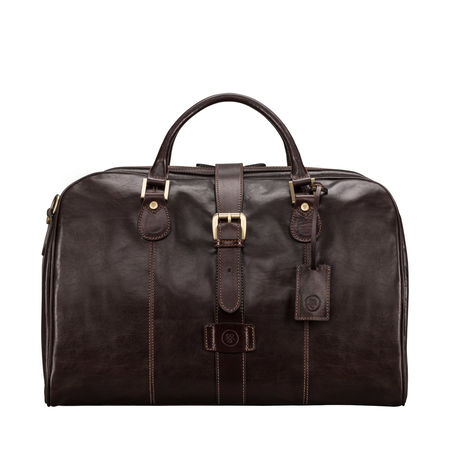 Maxwell Scott Bags Leder Handgepäck Tasche in Dunkelbraun schwarz