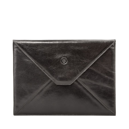 Maxwell Scott Bags Leder iPad Tablet Hülle in Schwarz grau