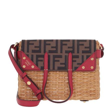 Fendi  Umhängetasche  -  Small Flip Shoulder Bag Rattan/Leather Natural/Maya  - in beige  -  Umhängetasche für Damen pink