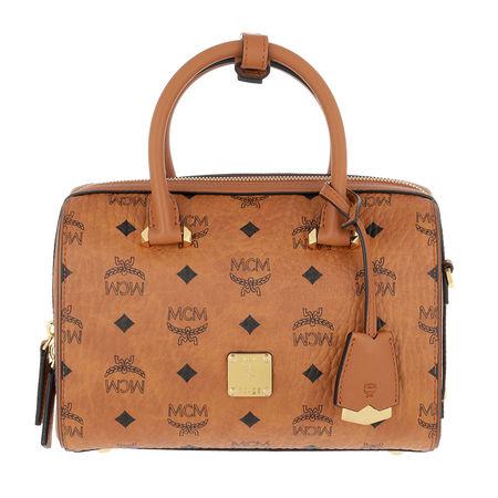 MCM  Bowling Bag  -  Essential Visetos Original Boston Handle Bag Cognac  - in cognac  -  Bowling Bag für Damen orange