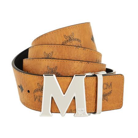 MCM  Gürtel  -  Reversible Belt Shiny Cobalt Buckle Cognac  - in cognac  -  Gürtel für Damen orange