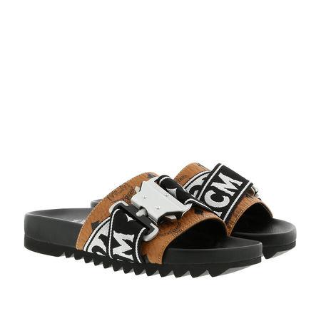MCM  Schuhe  -  W Webbing Trim Visetos Slide Cognac  - in schwarz  -  Schuhe für Damen schwarz