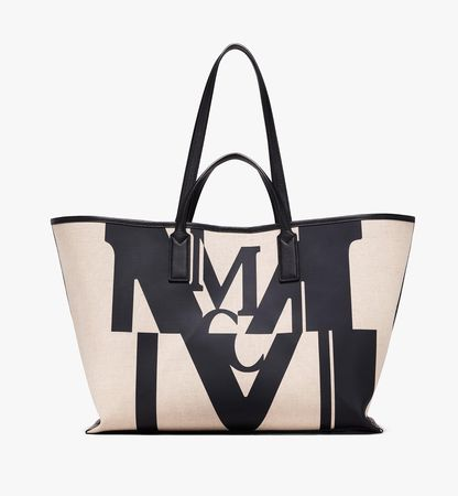 MCM Shopper in Logo Glitch Canvas weiss