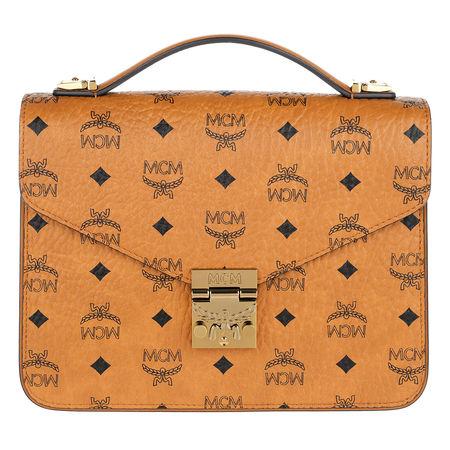 MCM  Umhängetasche  -  Patricia Visetos Satchel Medium Cognac  - in cognac  -  Umhängetasche für Damen orange