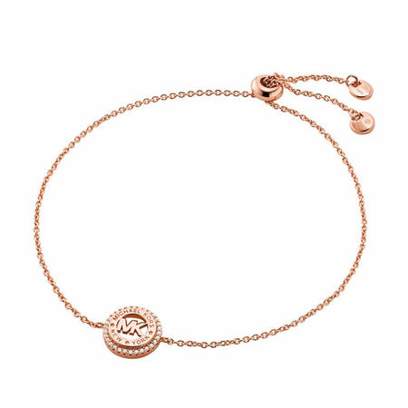 Michael Kors  Armband - 14k Gold-Plated Sterling Silver Dainty Logo Slider - in rosa - für Damen