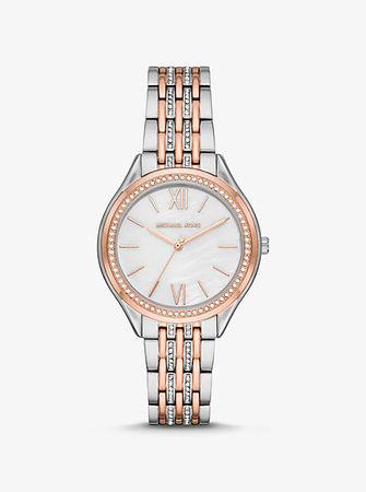 Michael Kors MK Zweifarbige Armbanduhr Mini Mindy Mit Pavé-Fassung - Zweifarbig(Silberton) -
