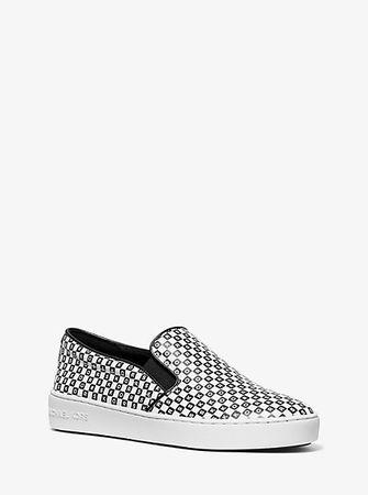 MICHAEL Michael Kors Slip-On-Sneaker Keaton Mit Logo In Schachbrettoptik weiss