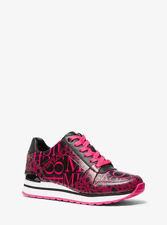 MICHAEL Michael Kors Sneaker Billie Aus Leder Mit Logo In Zeitungsoptik weiss