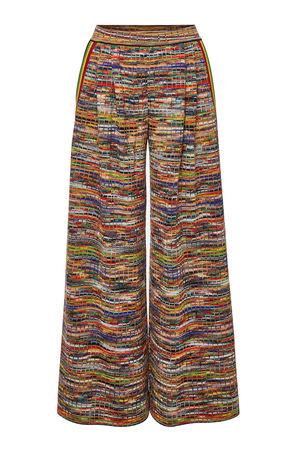 Missoni  Gemusterte Wide Leg Pants aus Wolle braun