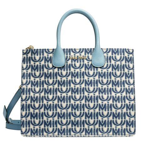 Miu Miu ® - Handtasche aus Leder in Blau für Damen, Größe UNI grau
