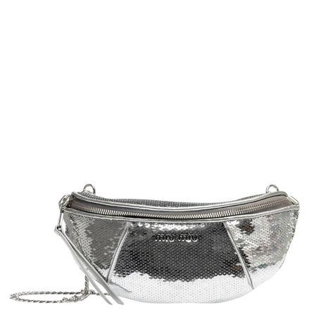 Miu Miu ® - Handtasche aus Leder in Silber für Damen, Größe UNI grau
