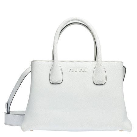 Miu Miu ® - Handtasche aus Leder in Weiß für Damen, Größe UNI grau