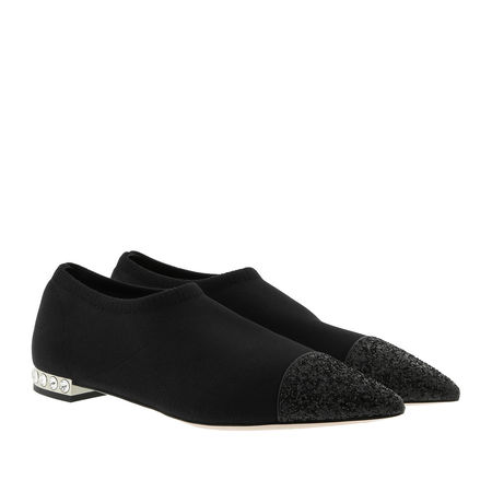 Miu Miu  Ballerinas  -  Knit and Glitter Slipper Black  - in schwarz  -  Ballerinas für Damen schwarz