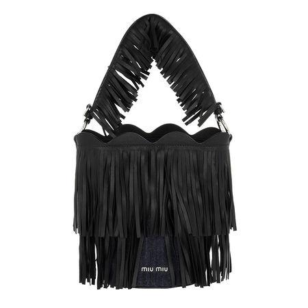 Miu Miu  Beuteltasche  -  Bucket Bag Nappa Denim Black  - in blau  -  Beuteltasche für Damen schwarz