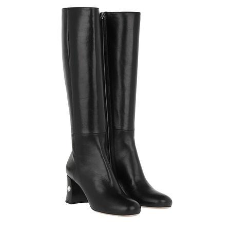 Miu Miu  Boots  -  Crystal Bootie Leather Black  - in schwarz  -  Boots für Damen grau