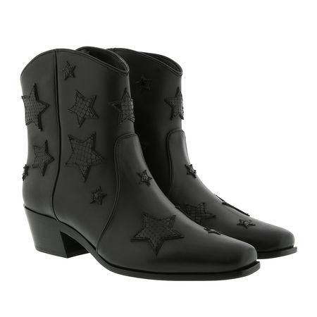 Miu Miu  Boots  -  Star Booties Leather Black  - in schwarz  -  Boots für Damen grau
