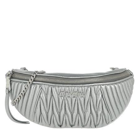 Miu Miu  Gürteltasche  -  Matelasse Belt Bag Leather Cromo  - in silber  -  Gürteltasche für Damen grau