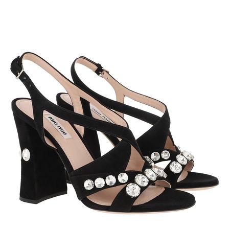 Miu Miu  Sandalen  -  Crystal Sandals Suede Black  - in schwarz  -  Sandalen für Damen schwarz