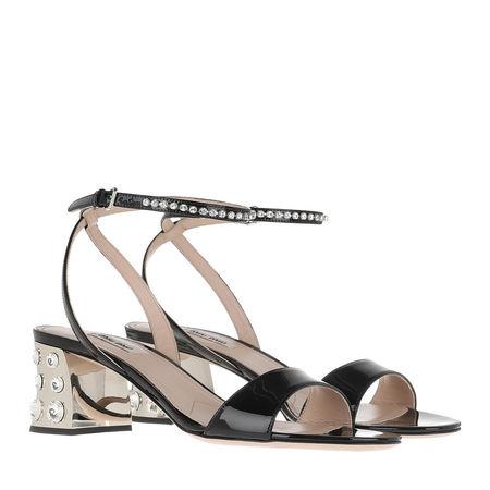 Miu Miu  Sandalen  -  Sandals Leather Black  - in schwarz  -  Sandalen für Damen braun