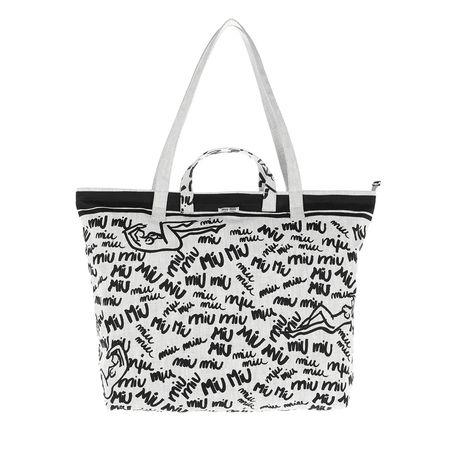 Miu Miu  Shopper  -  Shopping Bag Print Canvas White  - in weiß  -  Shopper für Damen grau