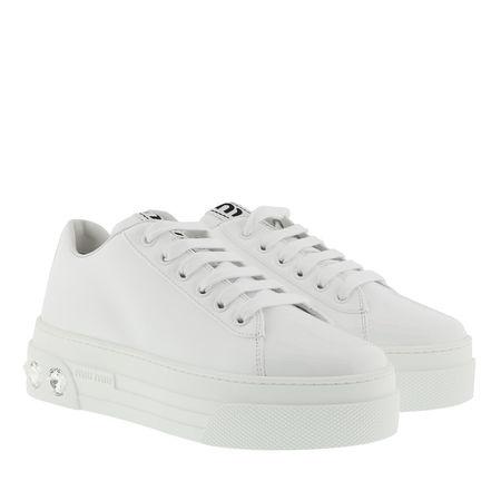Miu Miu  Sneakers  -  Crystal Sneakers Leather White  - in weiß  -  Sneakers für Damen grau